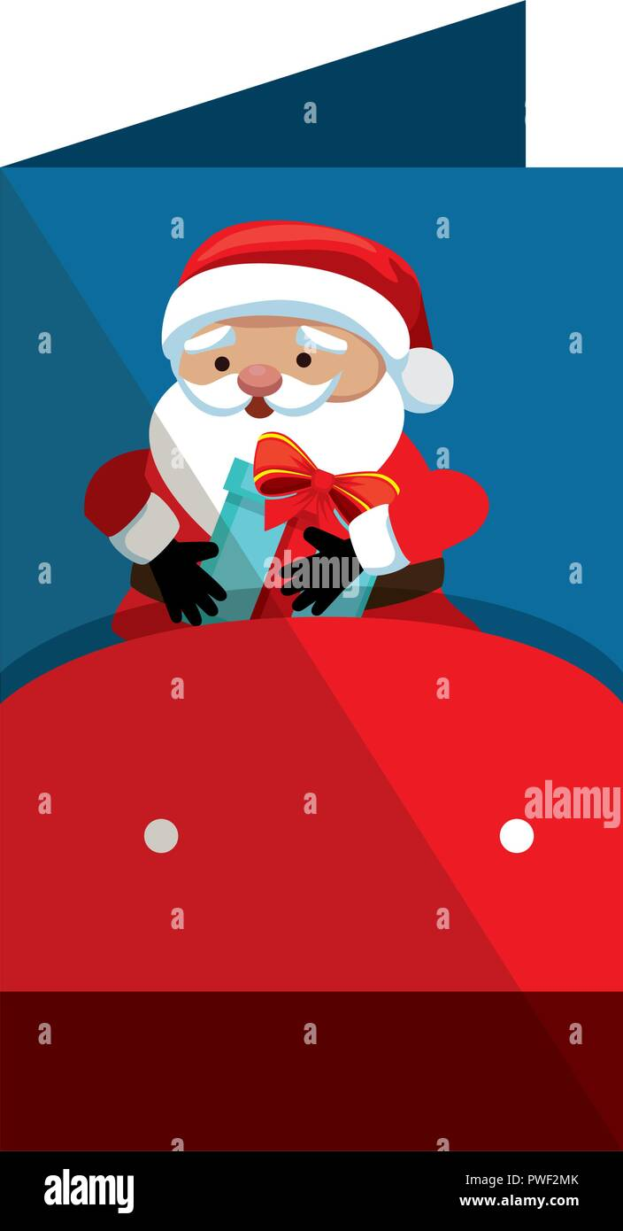 merry christmas card with santa claus vector illustration design ...