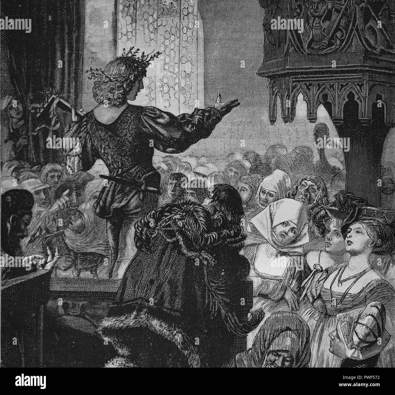 Master singer (Meistersinger). Germany. Contest of music. 14th-16th century. Engraving, 1882. - Stock Image