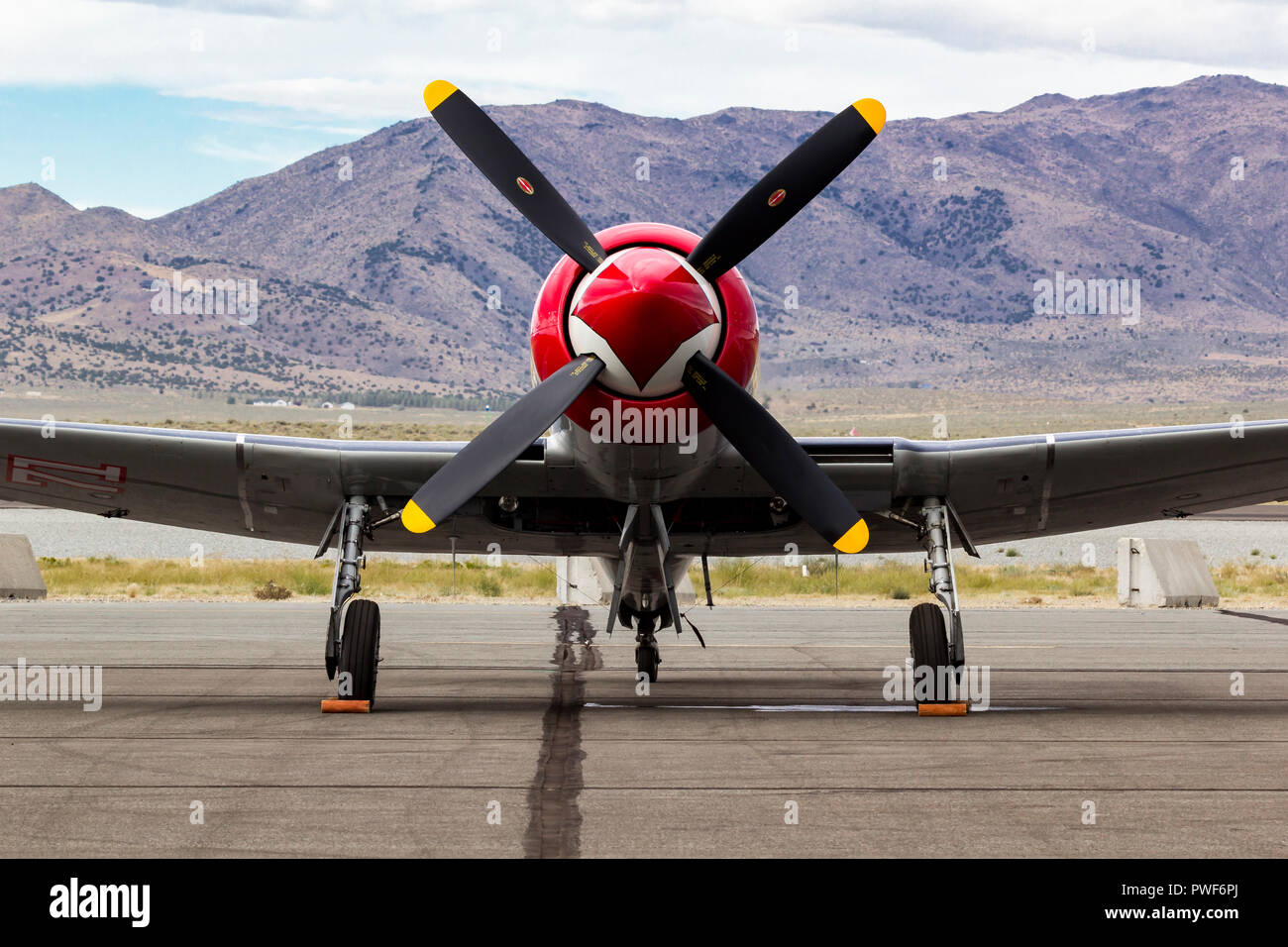 Hawker Sea Fury 'Sawbones' flown by Space Shuttle Astronaut Curt Brown during the 2018 National Championship Air Races sits on the ramp. - Stock Image