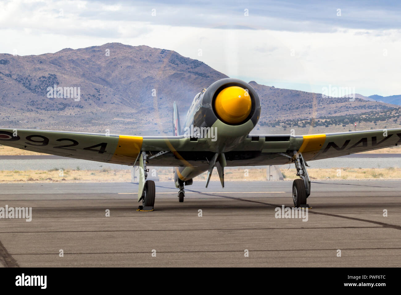 Hawker Sea Fury 924 powered by a  Bristol Centaurus motor at Stead Field during the 2018 National Championship Air Races. - Stock Image
