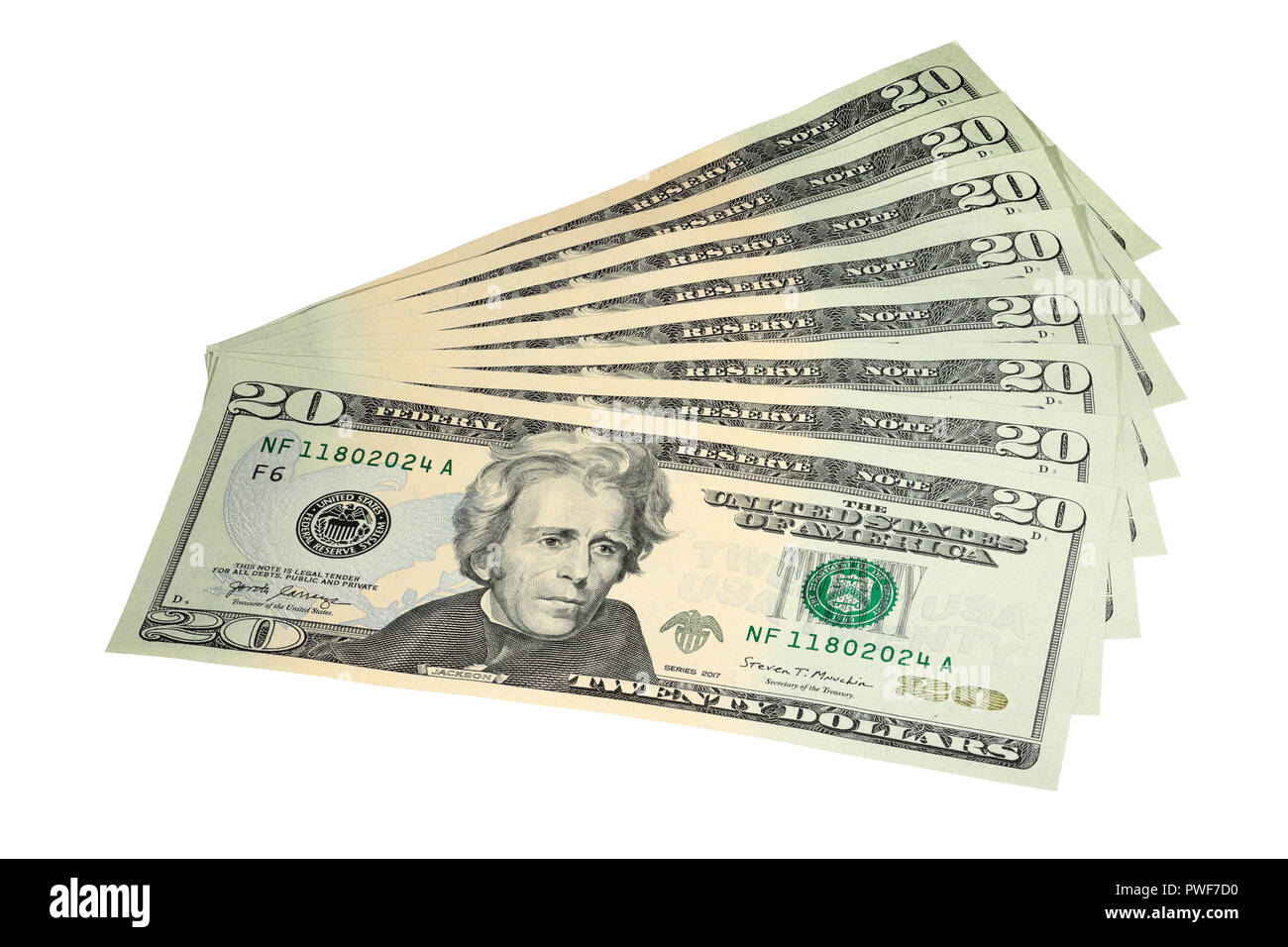 A Fan of $20 Bills isolated on a white background - Stock Image