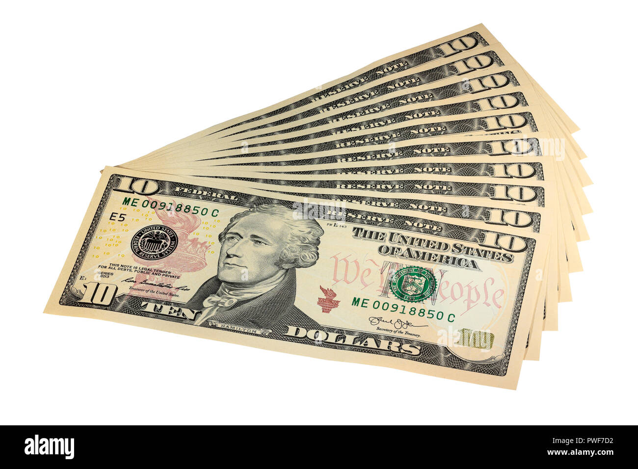 A Fan of $10 Bills isolated on a white background - Stock Image
