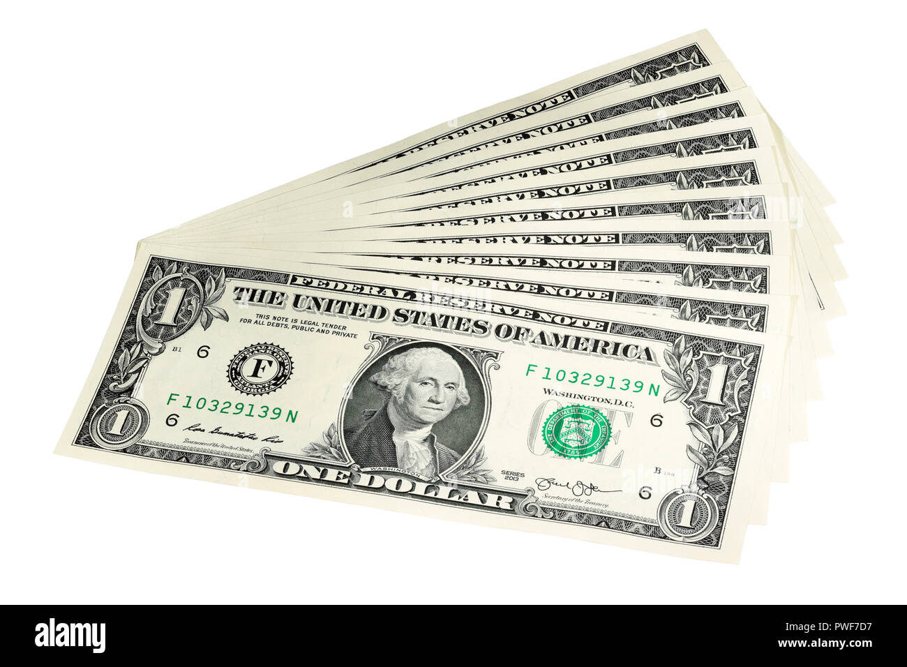 A Fan of $1 Bills isolated on a white background - Stock Image