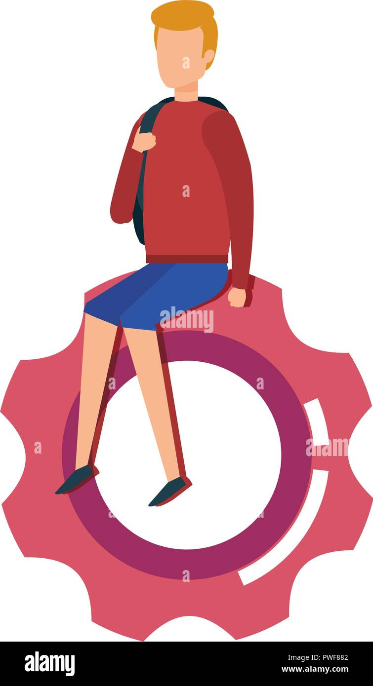mini man sitting in gear machinery - Stock Vector