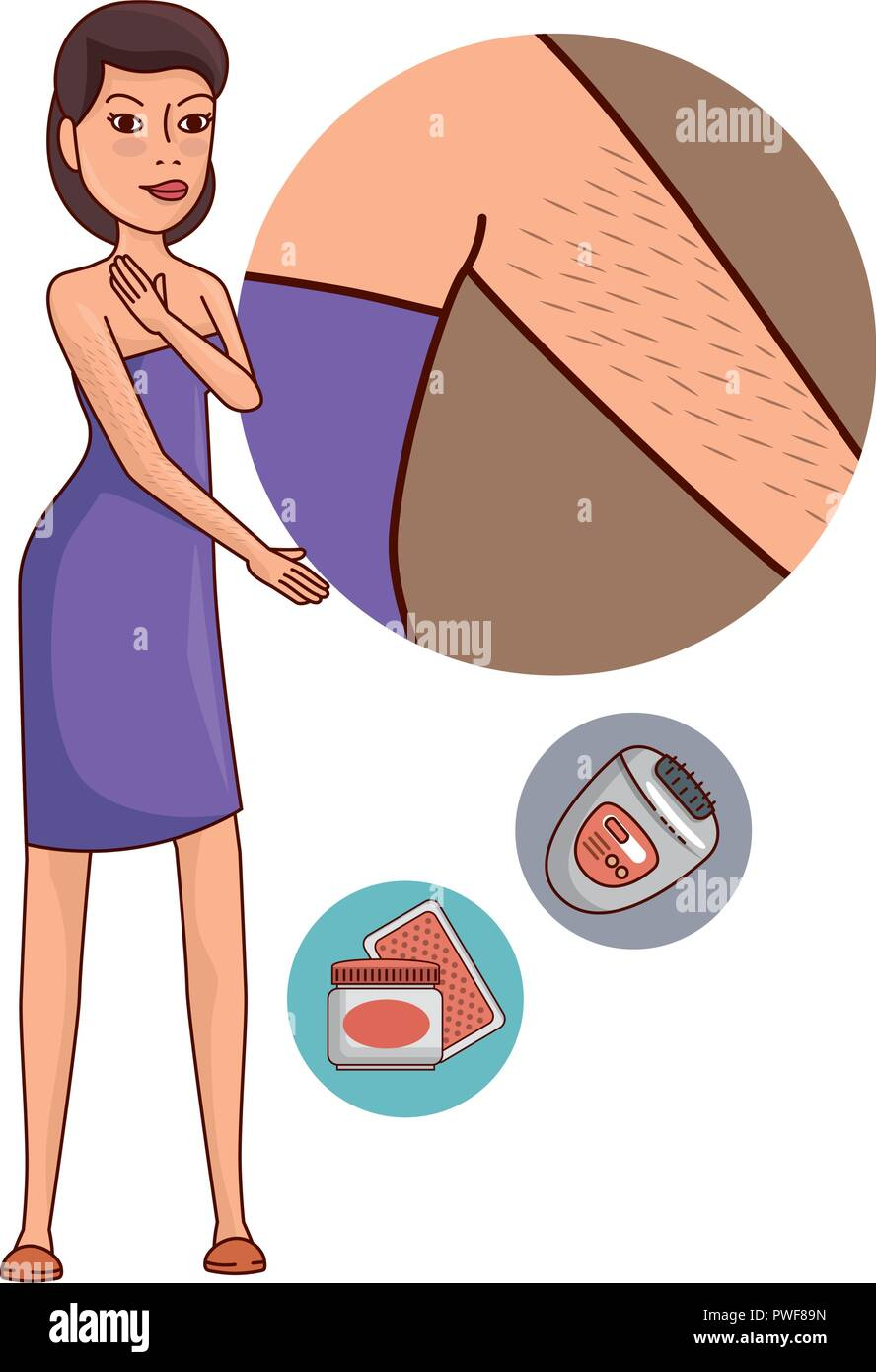 woman in towel waxing armpit with products - Stock Image