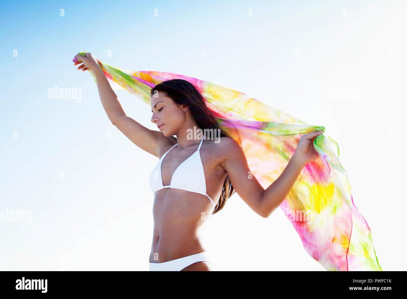 Woman in bikini at the beach, Miami, Florida, USA. Stock Photo