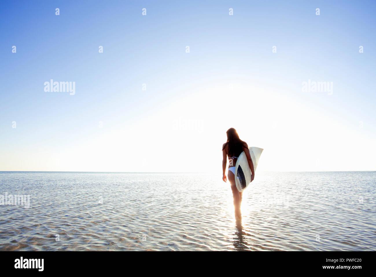 Woman in bikini at the beach, Miami, Florida, USA. - Stock Image