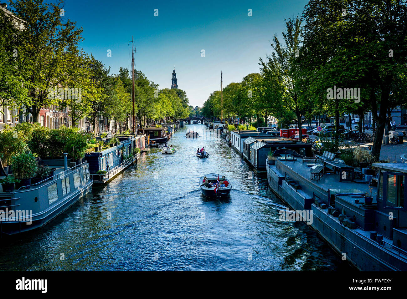Netherlands,South Holland,Europe, Hampshire Inn - Prinsengracht, CANAL AMIDST TREES AGAINST SKY - Stock Image