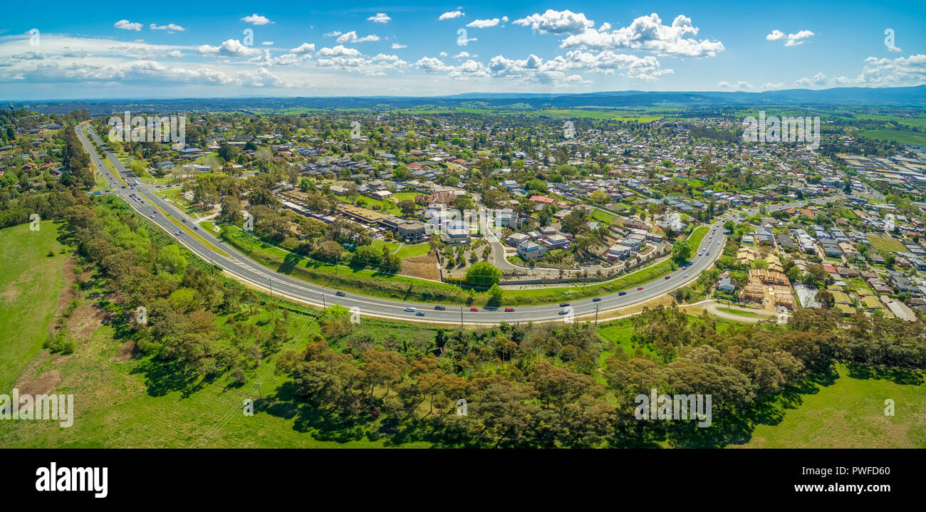 wide aerial panorama of maroondah highway and lilydale suburb melbourne victoria australia. Black Bedroom Furniture Sets. Home Design Ideas