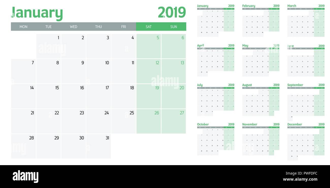 calendar planner 2019 template vector illustration all 12 months
