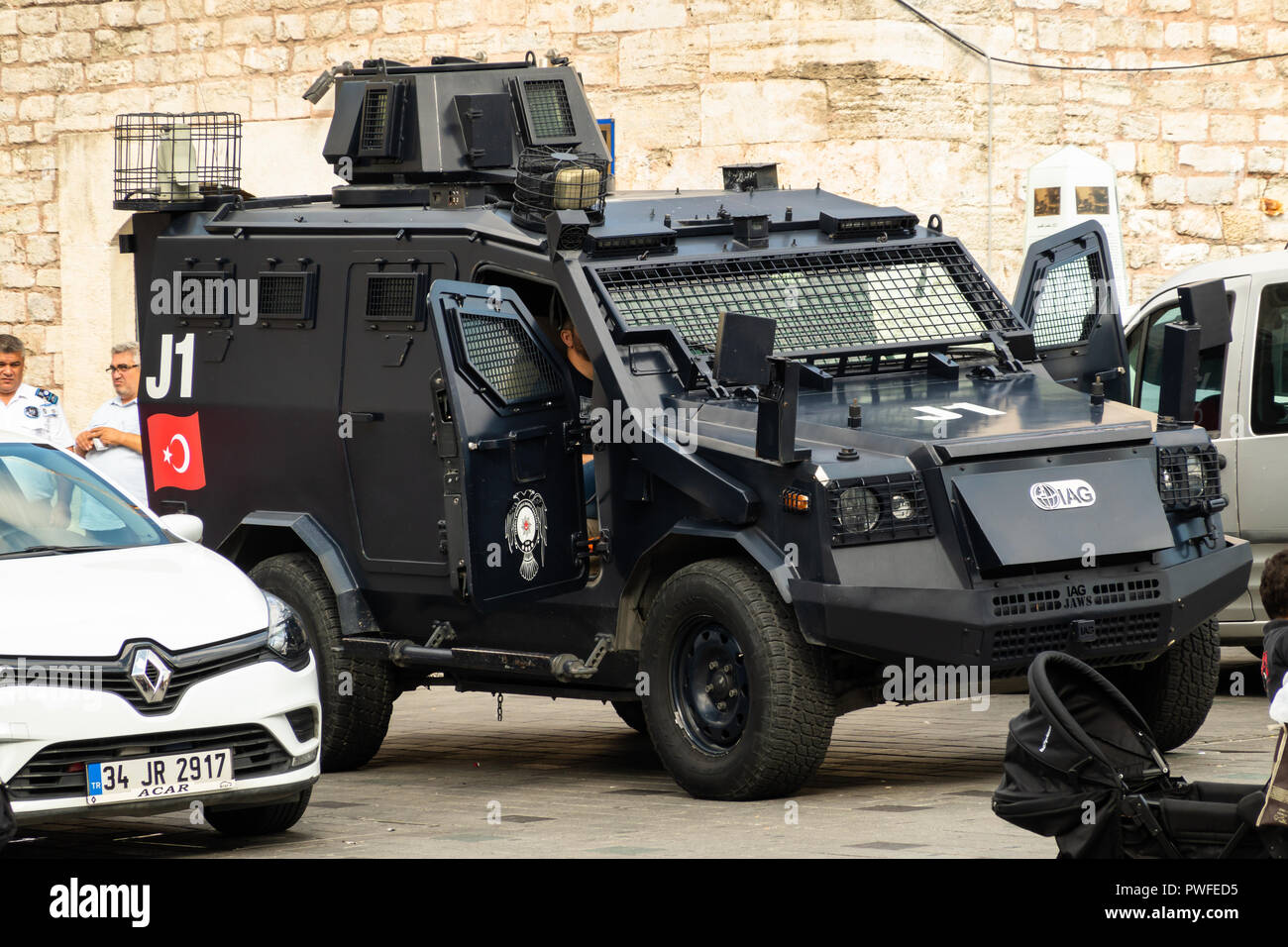 Istanbul, Turkey, September 2018: Martial armoured car of the Turkish police on Taksim Square in the centre of Istanbul - Stock Image