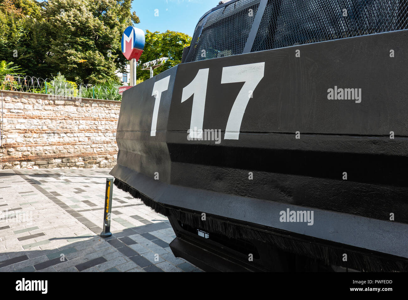 Istanbul, Turkey, September 2018: Detailed view of a black armoured car of the Turkish police - Stock Image