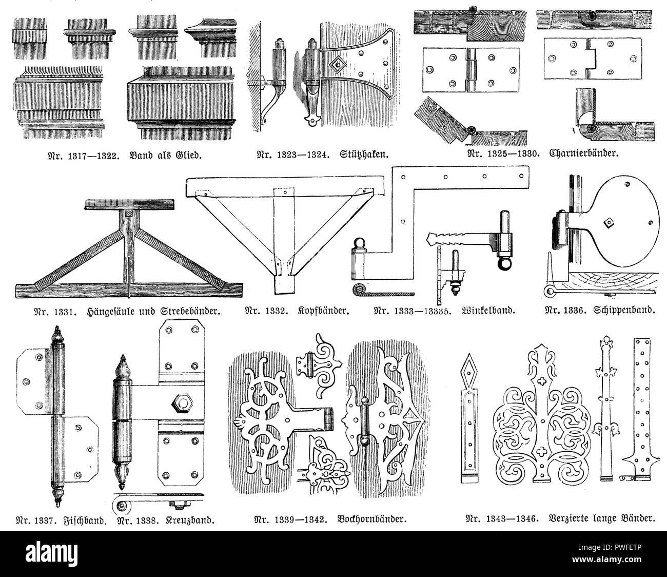 No. 1317-1322. Volume as member, No. 1323-1324. Piece hook, No. 1325-1330. Hinged hinges, No. 1331. Hanging column and braces, 1332. Headbands, No. 1333-1335. Angled band, No. 1336. Schippenband, No. 1337. Fish band, 1338. Kreuzband, 1339-1342. Bockhornbands, 1343-1346. Decorated long ribbons, - Stock Image