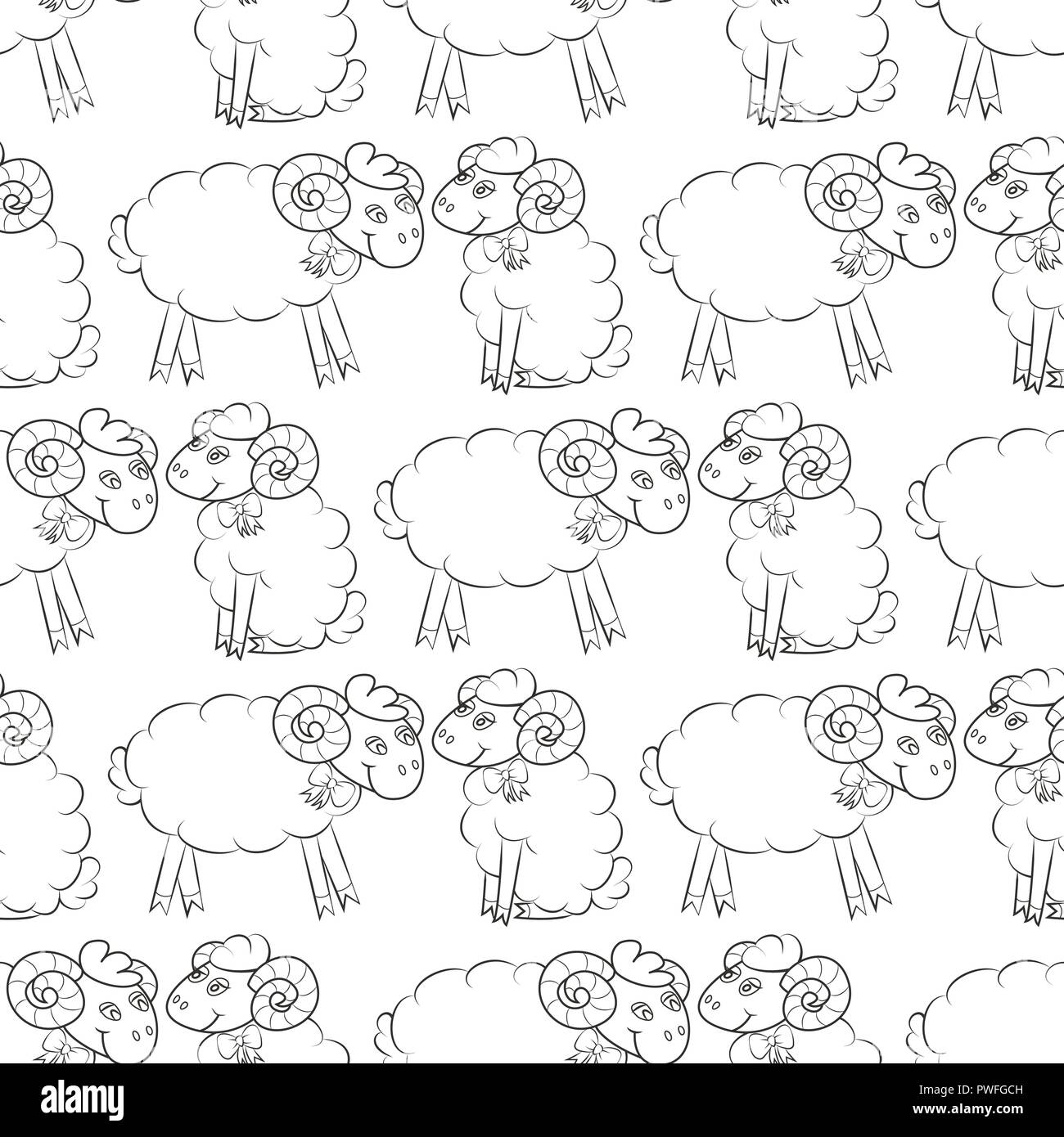 Sheep Flying In The Sky With Clouds Cute Wallpaper For Kids Vector Illustration Seamless Pattern Background