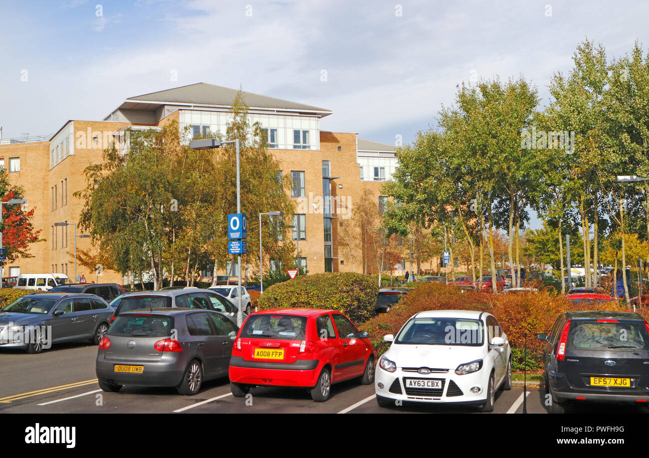 A view of the West Block of the Norfolk and Norwich University Hospital, Norwich, Norfolk, England, United Kingdom, Europe. Stock Photo