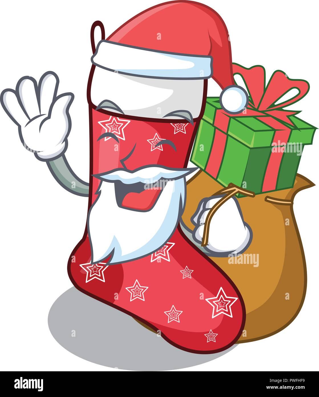 Christmas Stockings Cartoon.Santa With Gift Cute Christmas Socks Isolated On Mascot