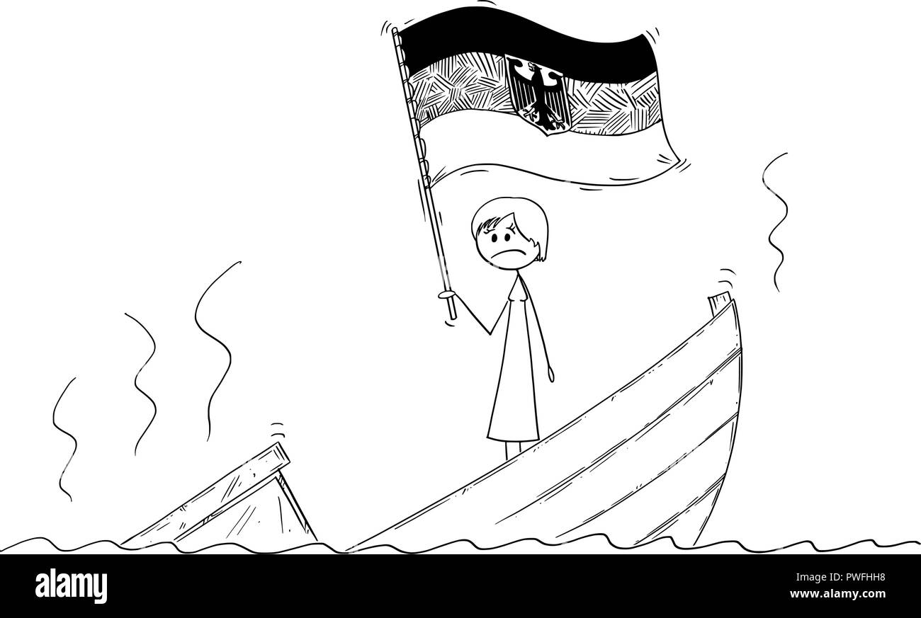 Cartoon of Female or Woman Politician or Chancellor Standing Depressed on Sinking Boat Waving the Flag of Federal Republic of Germany - Stock Vector