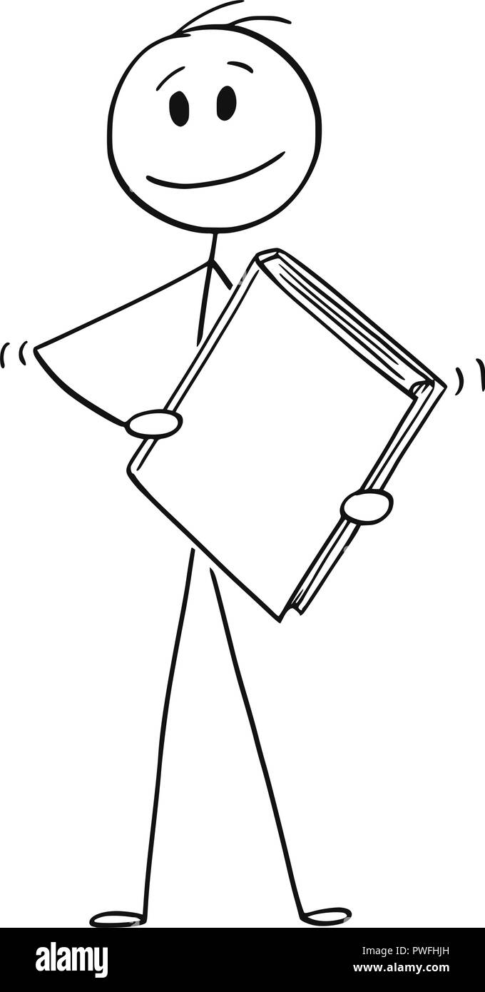 Cartoon of Man or Businessman Holding Big Blank Book - Stock Vector