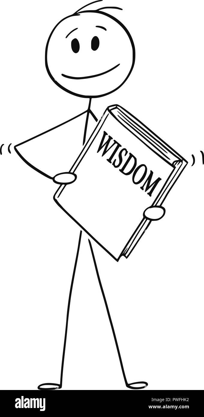 Cartoon of Man Holding Big Book of Wisdom - Stock Vector