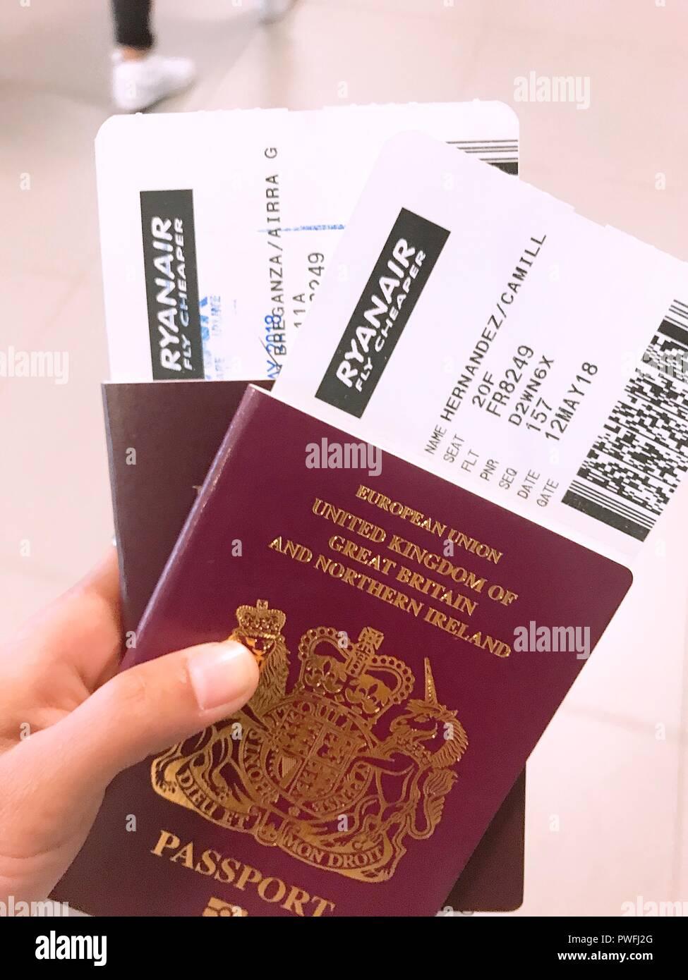 Flight Boarding Passes Stock Photos & Flight Boarding Passes