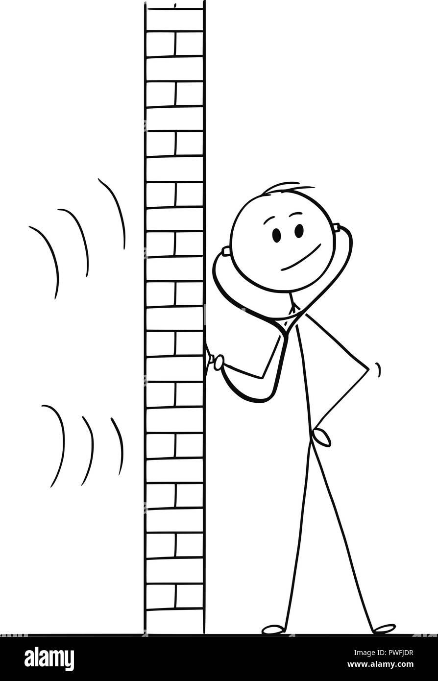 Cartoon of Man Using Stethoscope or Phonendoscope To Spy - Stock Vector