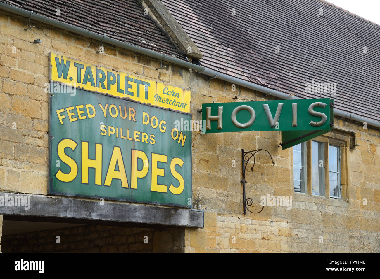 Vintage or Old Hovis Advert, Advertisement or Shop Sign in Paxton Village near Chipping Campden Cotswold Gloucestershire England - Stock Image