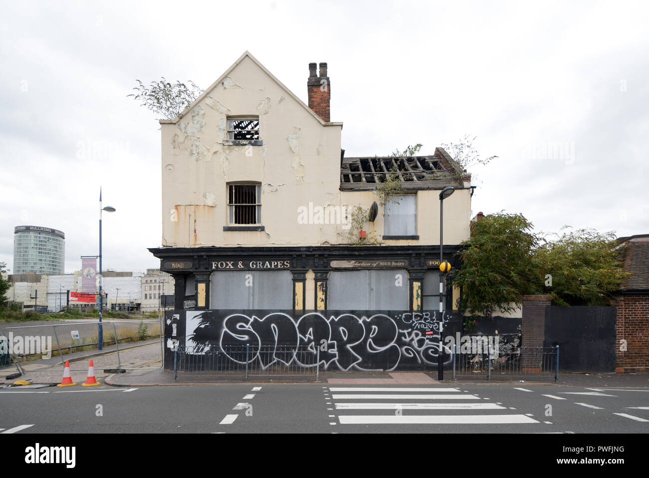 Derelict Pub, the Fox and Grapes, Being Demolished for Urban Redevelopment Programme Digbeth Birmingham England - Stock Image