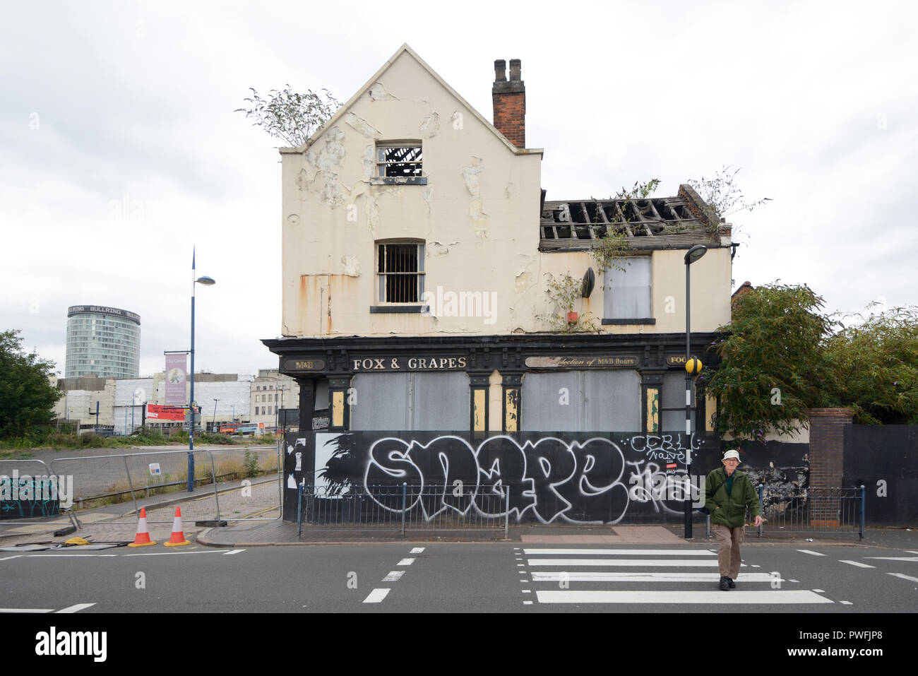 Boarded-Up Derelict Pub, the Fox and Grapes, Being Demolished for Urban Redevelopment Programme Digbeth Birmingham England - Stock Image
