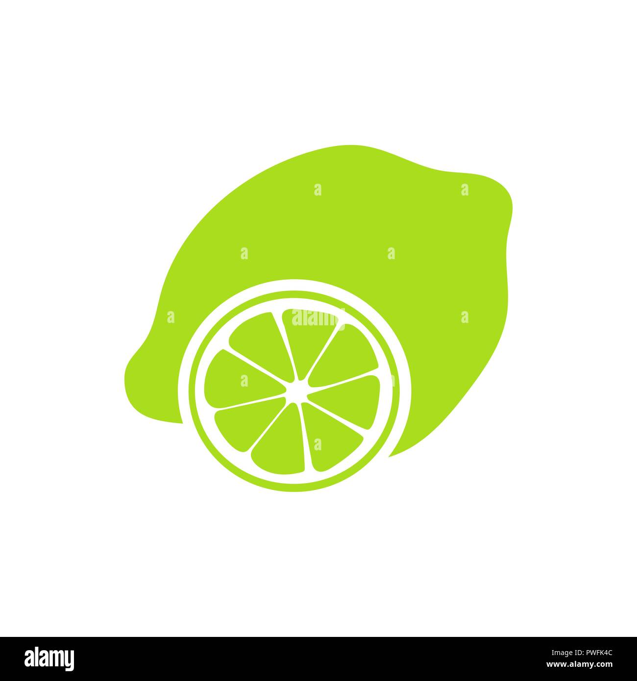 Juicy slice of lime isolated on white, with clipping path - Stock Vector
