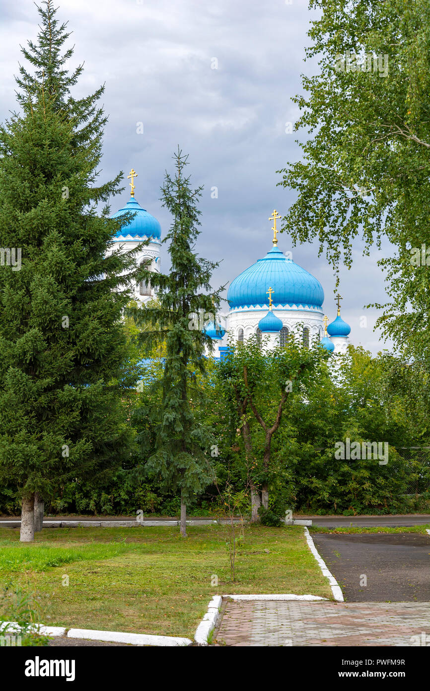 Biysk, view from the Park on Dzerzhinsky square on the Cathedral of the assumption of the Holy mother - Stock Image