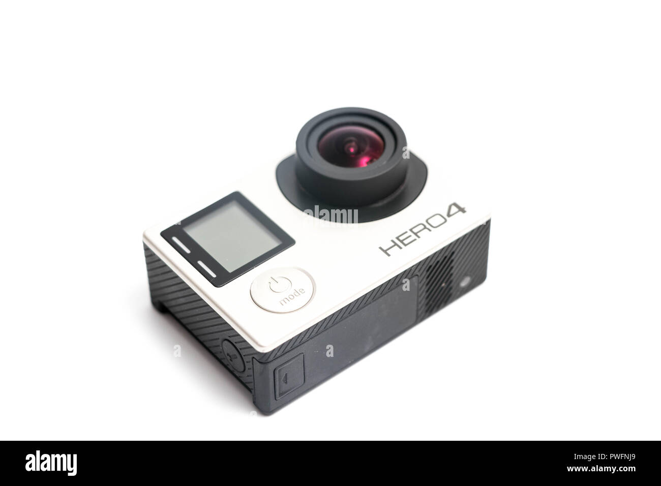 Gopro camera sport hero 4 close up isolated  LCD touch screen - Stock Image