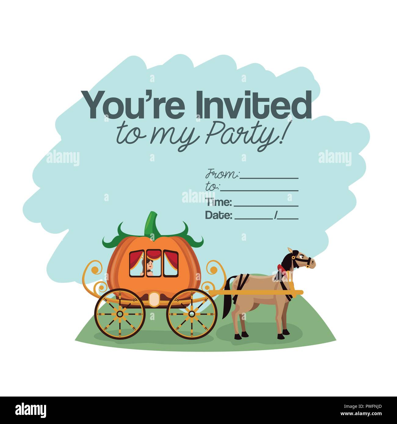 Halloween kids party invitation card with cute cartoons vector illustration graphic design Stock Vector
