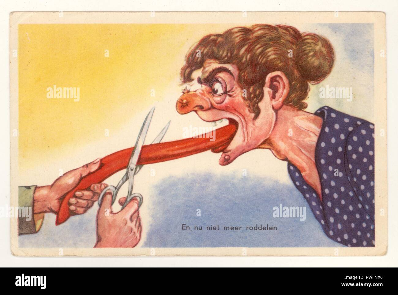 """Early Dutch 1900s cruelly comic anti- suffrage, anti-feminist postcard,  from the Netherlands, depicting a woman having tongue cut off to stop her gossiping (silencing women) - postcard reads """"en nu niel meer roddelen """" , printed in Holland, possibly 1930's Stock Photo"""
