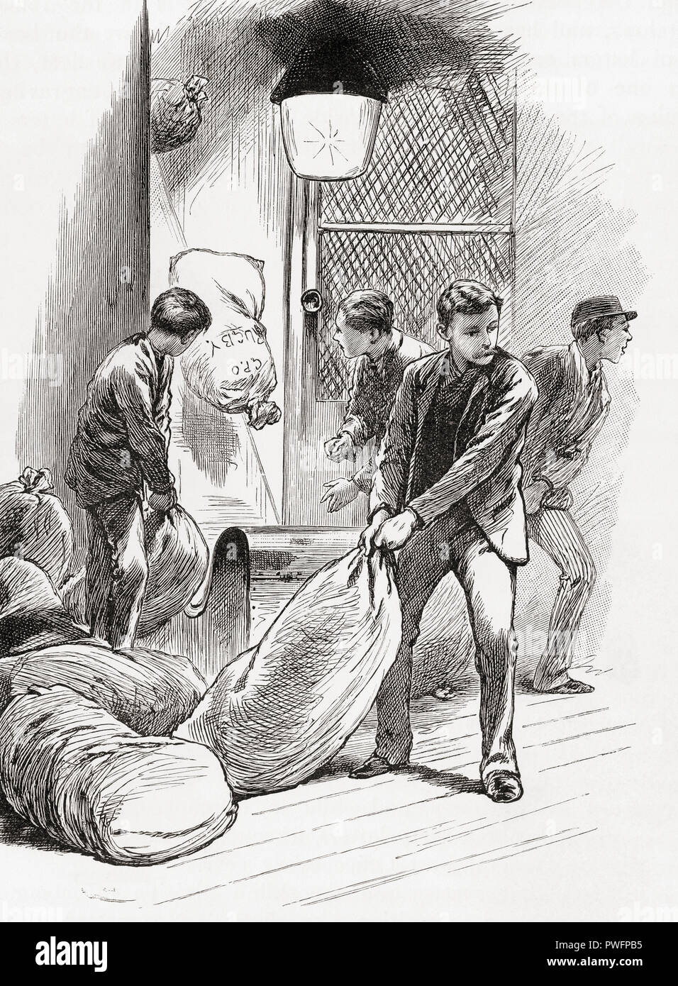 London, England in the 19th century.  The shoot in the general post office at 8 P.M., after the closing of the letter box at 6 P.M. sharp all letters have been sorted accordingly and placed in sacks, sent down the shoot to continue their onward journey to their destinations.  From London Pictures, published 1890. - Stock Image