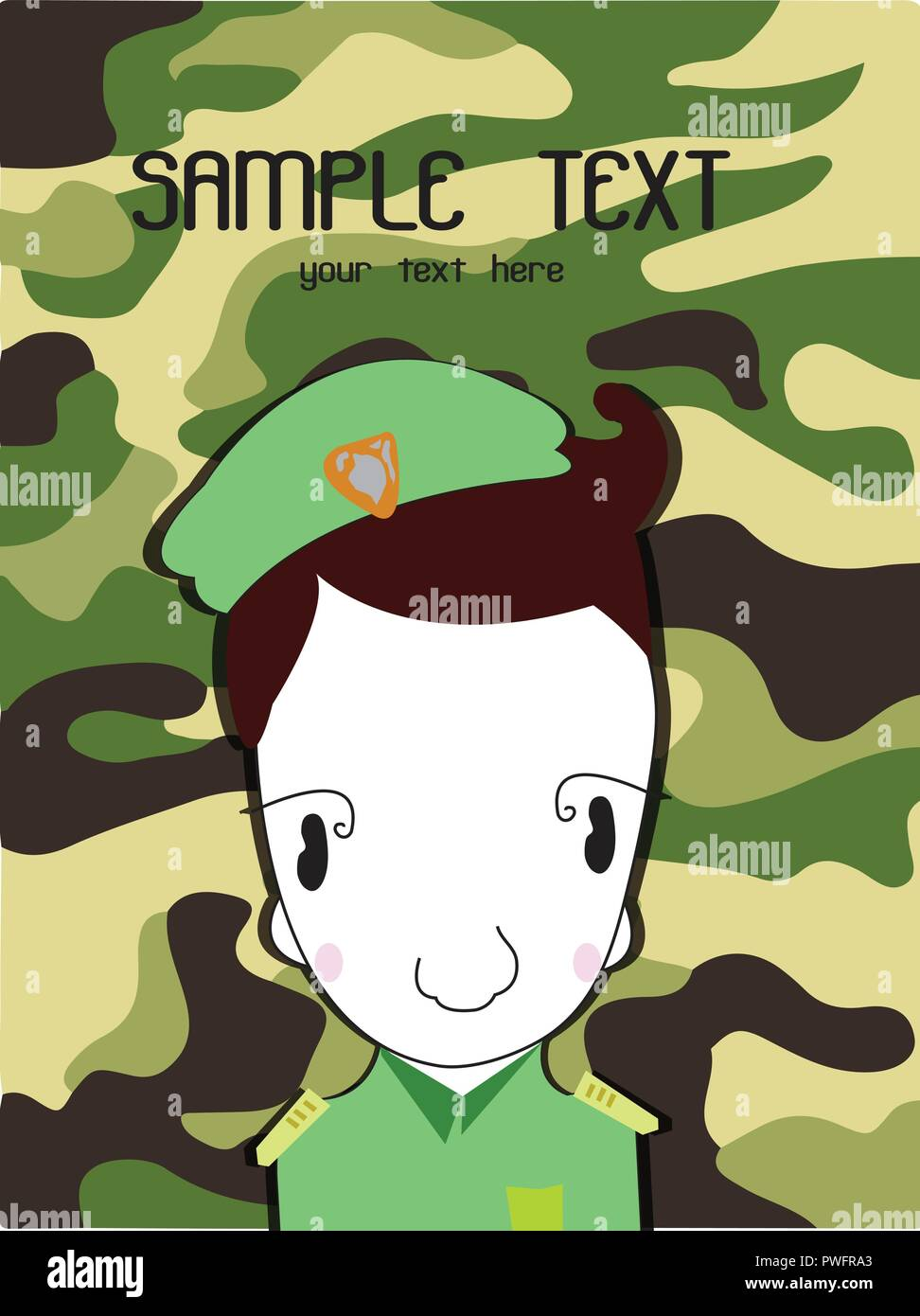 Cute cartoon illustration of a soldier background Green
