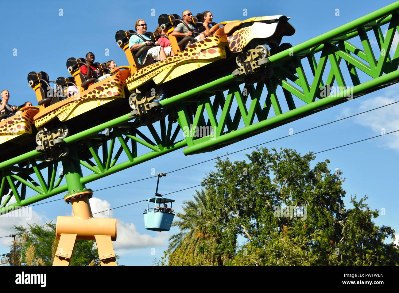 Tampa, Florida; September 29, 2019 Cheetah Hunt Rollercoaster include all the usual combinations as traditional loops, rolls and corkscrews - Stock Image