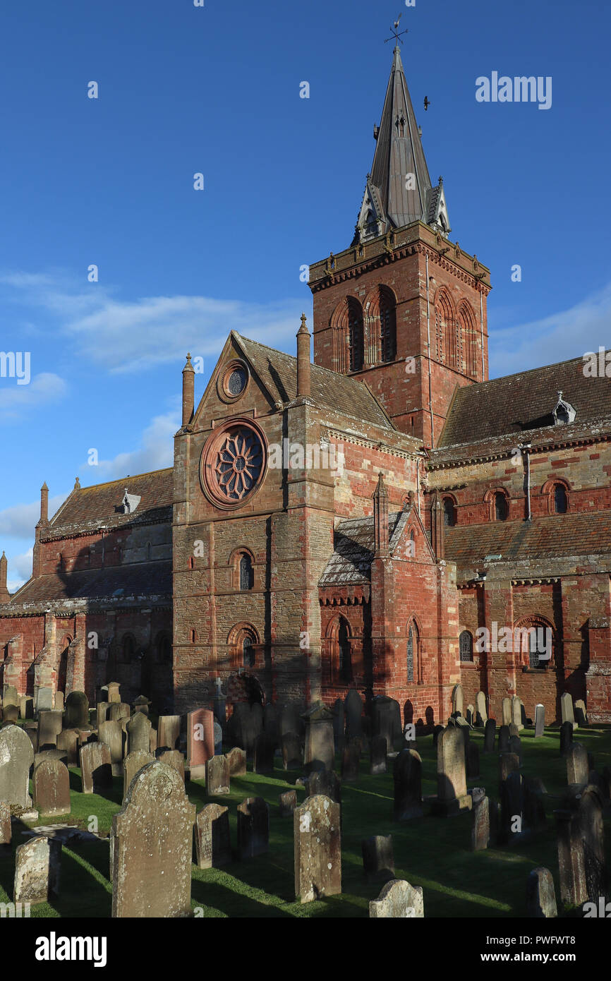 St. Magnus Cathedral in Kirkwall, Orkney, Scotland is over 870 years old, built of local polychromatic sandstone in Norman architecture, by Vikings! - Stock Image