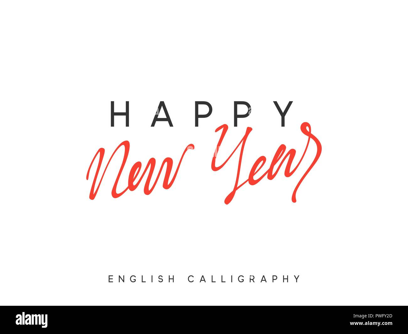 Text Happy New Year. Xmas calligraphy lettering Stock Vector Art ...