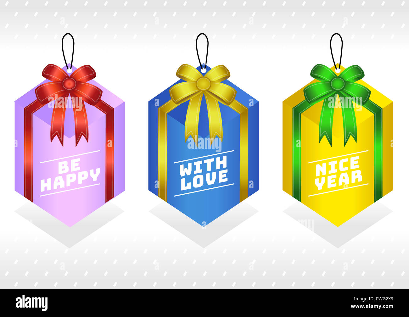 present gift box glossy bows and ribbons gift tag paper labels collection for birthday christmas new year gift card vector set in different color