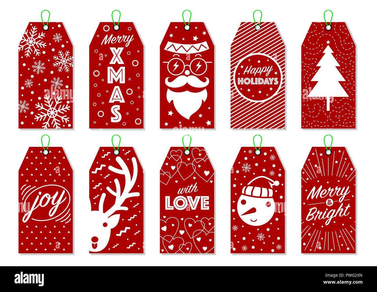 Collection of 10 Christmas gift tags. Cool Christmas labels. Hipster ...