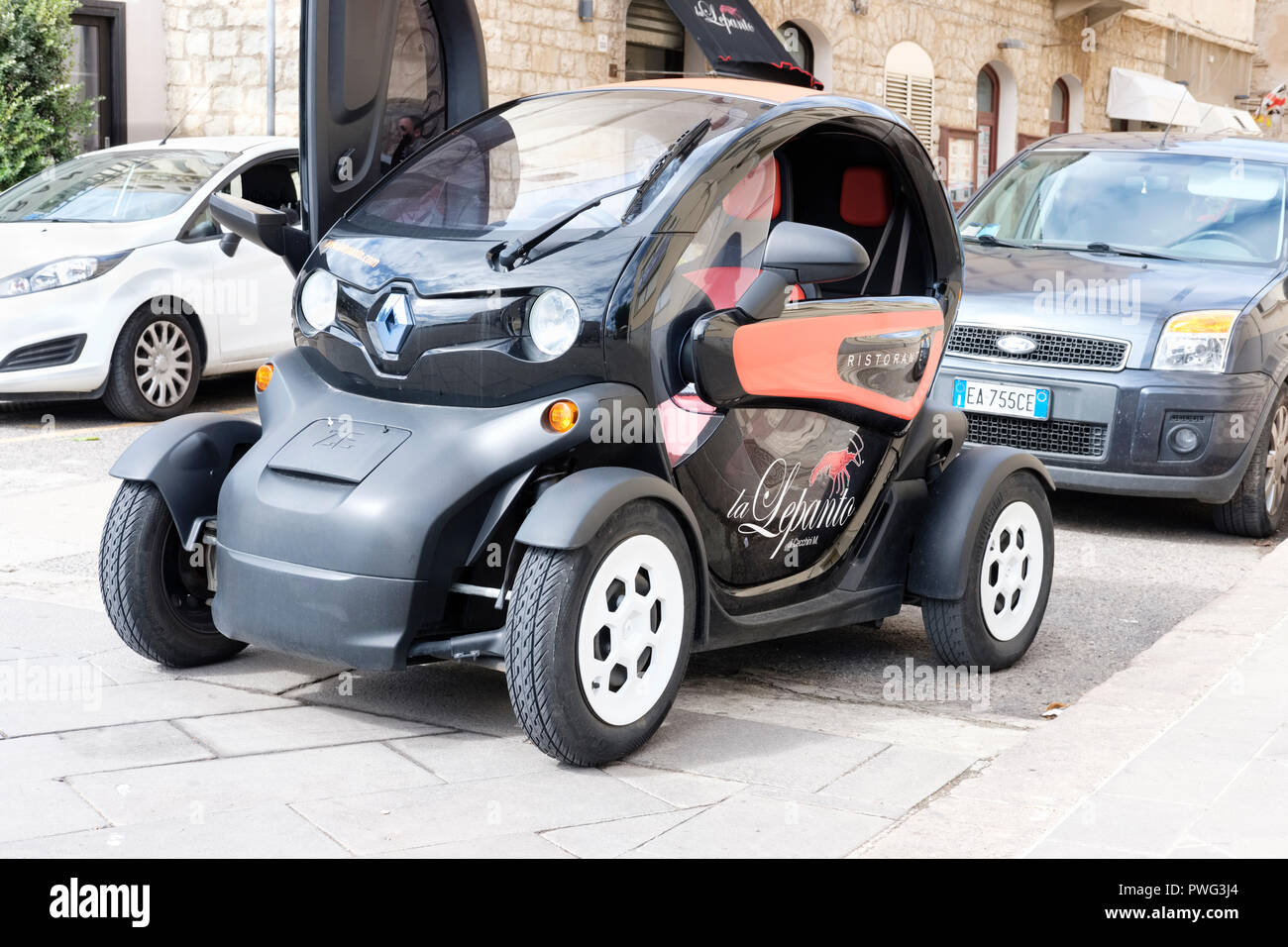 Close Up Of A Renault TWIZY Electric Two Seat Vehicle Car Alghero Sardinia Italy