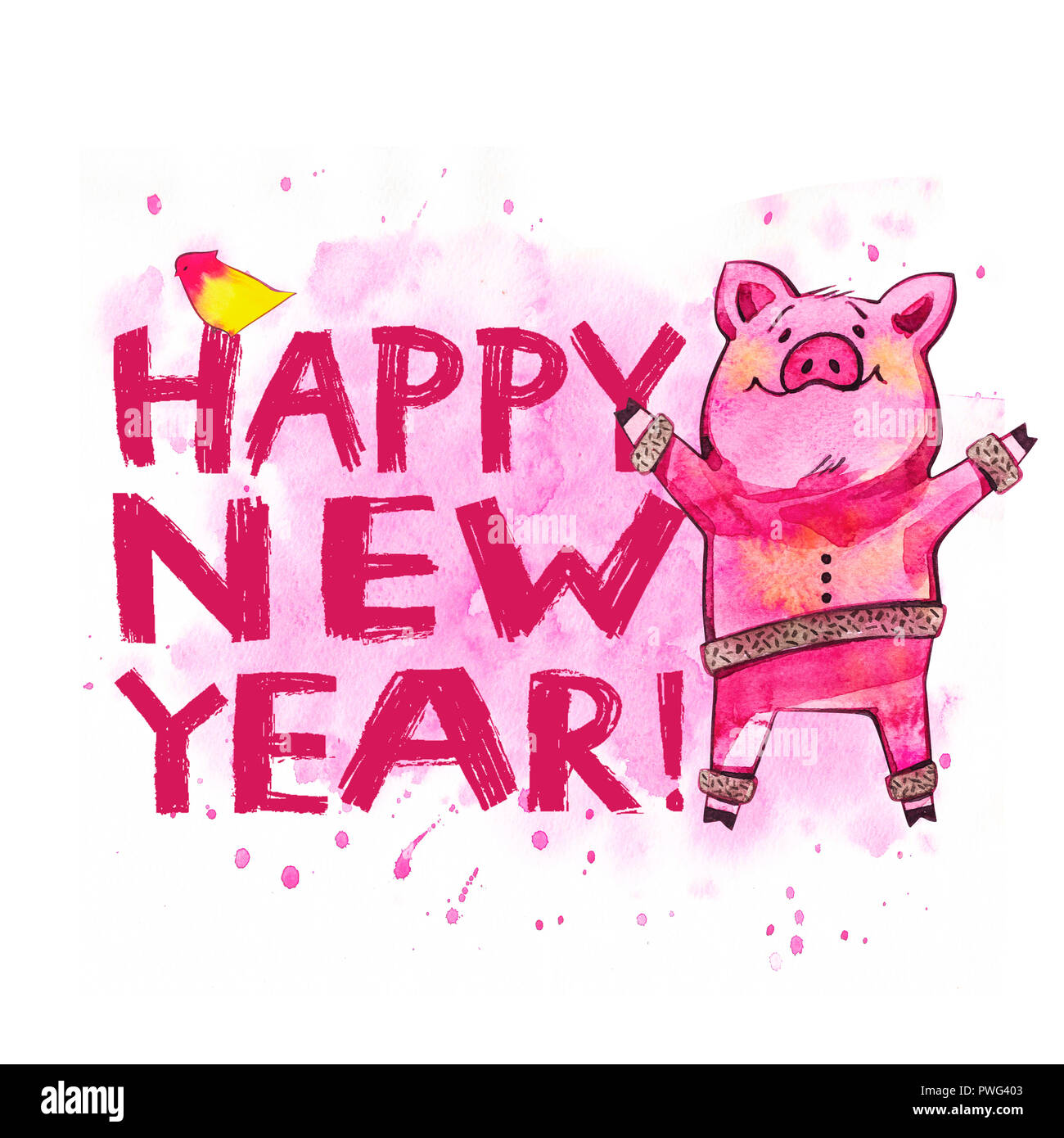 Creative Postcard For New 2019 Year With Cute Pig Watercolor