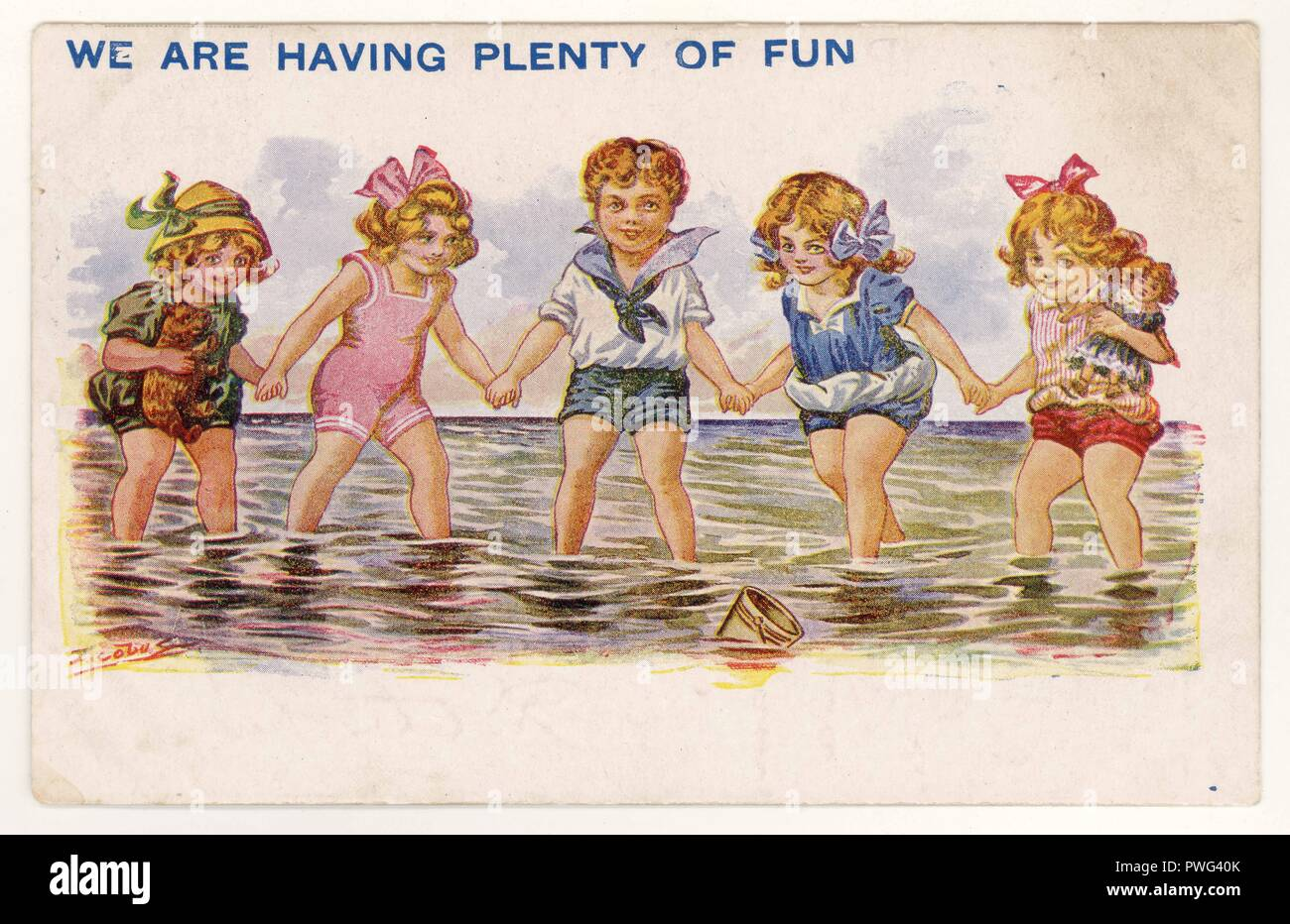 Charming illustrated seaside postcard of children bathing, posted 12 Sept 1924 from Blackpool, U.K - Stock Image