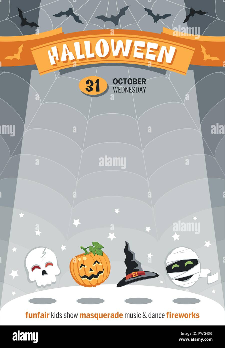 template poster for halloween with funny cartoon characters place