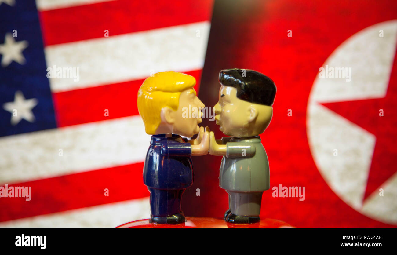 President Trump And Kim Jong Un Bobble Heads Playing Patty Cake In Front Of American Flag And North Korean Flag Stock Photo Alamy