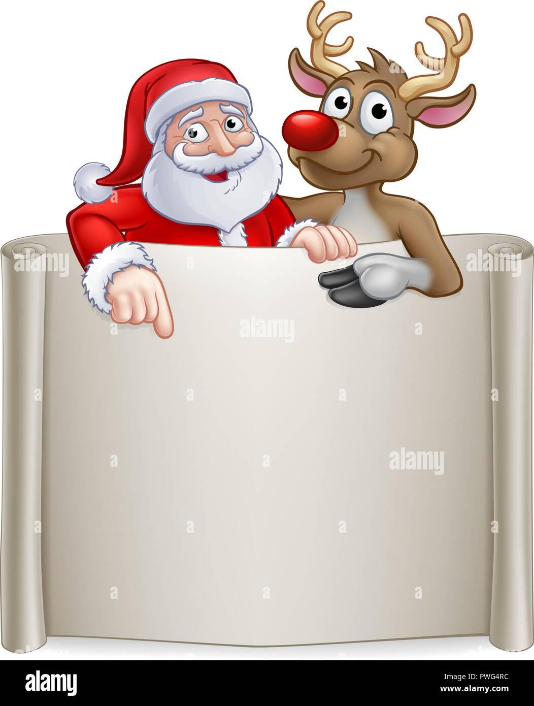 Christmas Santa Claus and Reindeer Cartoon Sign - Stock Image