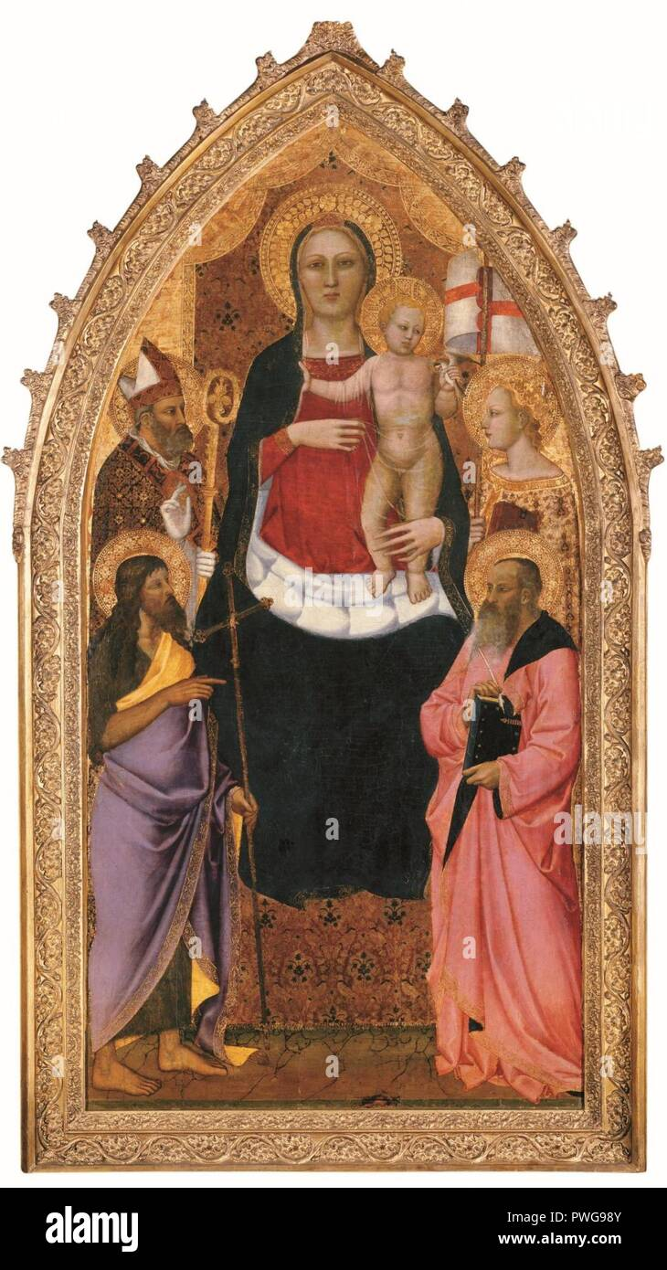 Madonna and Child Enthroned with Saints Zenobius John the Baptist Reparata and John the Evangelist - Nardo di Cione. - Stock Image