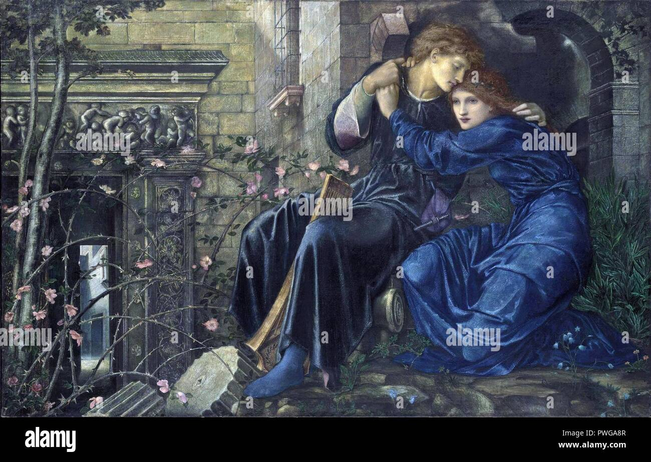Burne-jones-love-among-the-ruins. - Stock Image