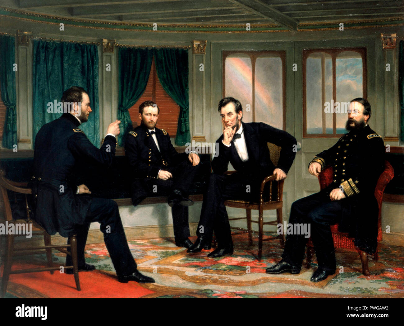 The Peacemakers.  William Tecumseh Sherman,   Ulysses S. Grant, Abraham Lincoln, David Dixon Porter - George Peter Alexander Healy, circa 1868 - Stock Image