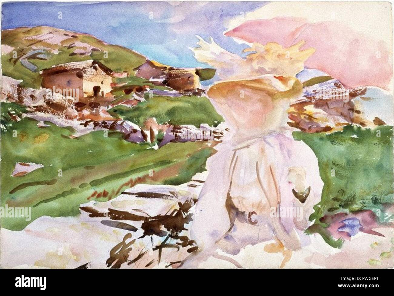 In the Simplon Pass - John Singer Sargent. Stock Photo